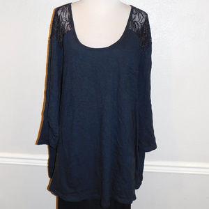 5X Roamans Black Mesh Lace 3/4 Sleeve Knit Top
